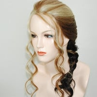 lace front french braided wig with ombre mix/ by Stars4Ucollection