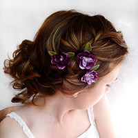 eggplant flower hair accessory purple flower hair by thehoneycomb