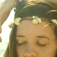 Flower Crown Ivory Small Flowers Hippie Headband Headpiece Hair Piece Bohemian Hipster Boho Hippie