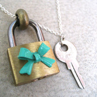 Padlock And Key Necklace - Tiffany Blue Colored Bow - Hardware Jewelry - Teal - Piece Lust