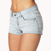 FOREVER 21 Embroidered Denim Shorts Light Denim