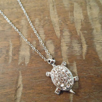 Shiny Silver Rhinestone Turtle Necklace | Candy's Cottage