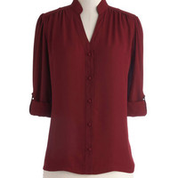 The Grand Tour Guide Top in Plum | Mod Retro Vintage Long Sleeve Shirts | ModCloth.com