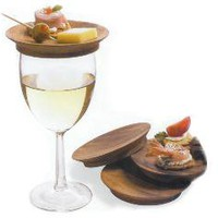 Wine Glass Top Appetizer Plates - Set of Four | Tapas Plates, Wood, Kitchen, Green, Hostess Gifts, Entertaining, Appetizer Plates, Acacia | Catching Fireflies