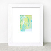 Watercolor Painting - plankton - green blue - summer - beach ocean - surfer - modern minimal
