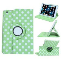 HDE® 360 Degree Rotating Polka Dot Case Cover for Apple iPad Mini (Green)