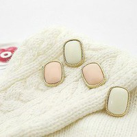 Alloy simple cushion stud earring E401