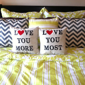 "PAIR of Valentine's Day ""Love You More & Most"" Pillows"