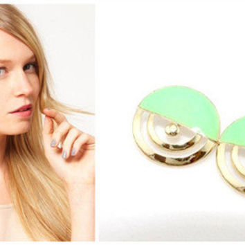 V435 Fashion Gold-Plated Hollow Circular Cyan Enamel Cute Ear Stud Earrings