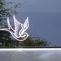 PAIR of Swallow tattoo style car stickers tan by CatButtStickers