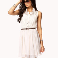 Chiffon Lace Shirt Dress w/ Belt | FOREVER21 - 2047188113