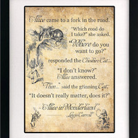 Alice in Wonderland Art Book Print - A3 or A4 Vintage Page Effect Wall Quote.