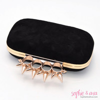 The Liv Minaudiere in Noir Suede and Gold - Spike Clutch