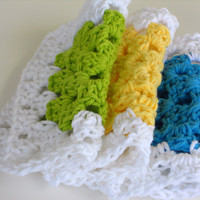 Cotton Crocheted Granny Square Dishcloths Peacock Lime Yellow Set of 3