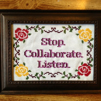Stop Collaborate Listen Vanilla Ice Ice Baby Framed Cross Stitch Art