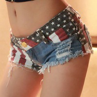 National wind ladies embroidered cotton shorts denim hot pants