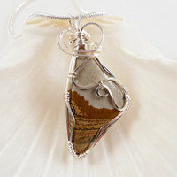 Wire Wrapped Handmade Jewelry, Picture Jasper Pendant