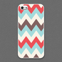iPhone 5 case - Chevron pattern : ivory, coral, tiffany teal color - iPhone 5 Case, Cases for iPhone 5, Hard iPhone 5 Case