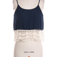 Catalina Crochet Crop Top - Navy -  $36.00 | Daily Chic Tops | International Shipping