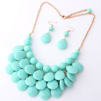 Teal Blue Bib Necklace,Bubble Statement Jewelry,Bridal Party/Holiday Necklace, Wedding Gift, Free Gift Packaging Available