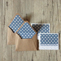 Crafted envelopes - set of 5 crafted small mini envelopes with cards - writing paper - blue white polka dotted rustic  - europeanstreetteam