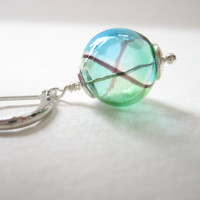 Bright and beautiful artisan hollow glass bead earrings, light blue, sea green and a dash of brown