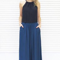 Maxi Skirt Basic Dark Teal