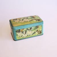 Antique blue Belgian dog tin, shabby chic home decor