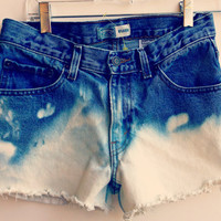 Mid Waisted Jean Shorts Bleached Ombre Denim Shorts Hipster Tumblr