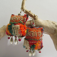Dangle Earrings, Beaded Embroided Textile Earrings