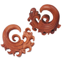 PAIR Organic Sabo Wood Wave PLUG Hanger 0g 8mm NEW