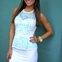Propose To Me Dress: White/Spearmint   Hope's