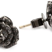 Borgioni Black Diamond Rose Stud Earrings