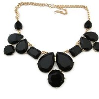 Black Geometric Bib Necklace
