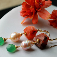 Pearl, Fiery Carnelian and Teal chalcedony gold fill earrings -  Color Fest