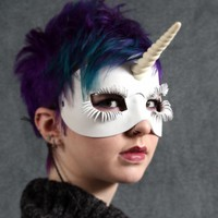 Unicorn leather mask in white | TomBanwell - Leather Craft on ArtFire