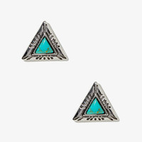 Faux Turquoise Triangle Studs
