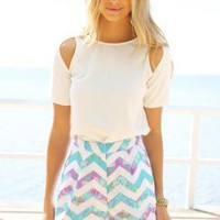 Multi Color Zig Zag Print High Waisted Shorts