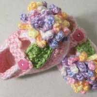 Baby Girl Mary Jane BootiesBaby Girl shoesPink with Flowers by HandmadeGiftsbyBarb on Zibbet