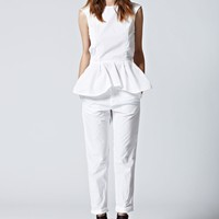Peplum Top in Plain White