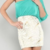 Teal One Shoulder Dress with Foil Skirt