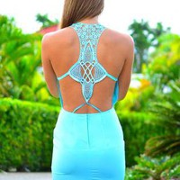 Blue Sleeveless Dress with Scoop Neck & Cutout Open Back