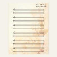 Vintage Rose Blank Sheet Music  Piano Staves Letterhead Template from Zazzle.com