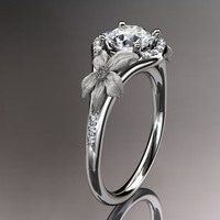 platinum  diamond leaf and vine wedding ring,engagement ring ADLR91