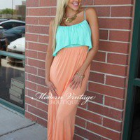 Mint Ruffle Top Apricot Maxi Dress