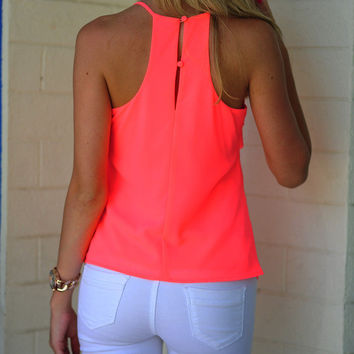 Too Bright To Fight Tank: Neon Pink | Hope's