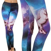 Unicorn Galaxy Cosmic Space Print Comfy Stretch Leggings USA Made Fashion Trend