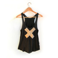 X Marks the Spot - Racerback Hand Stenciled Slouchy Scoop Neck Swing Tank Top in Heather Black and Gold - XS S M L