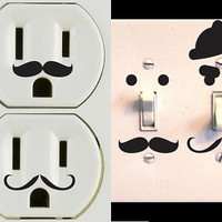 Vinyl Mustache Decor Set of 30 for Wall Outlets Lightswitches