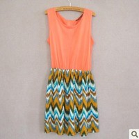 Wave grain sleeveless dresses